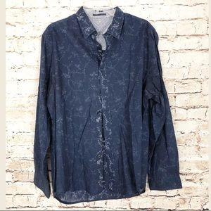 Elie Tahari Button Down Shirt SZ L Semi Sheer Blue